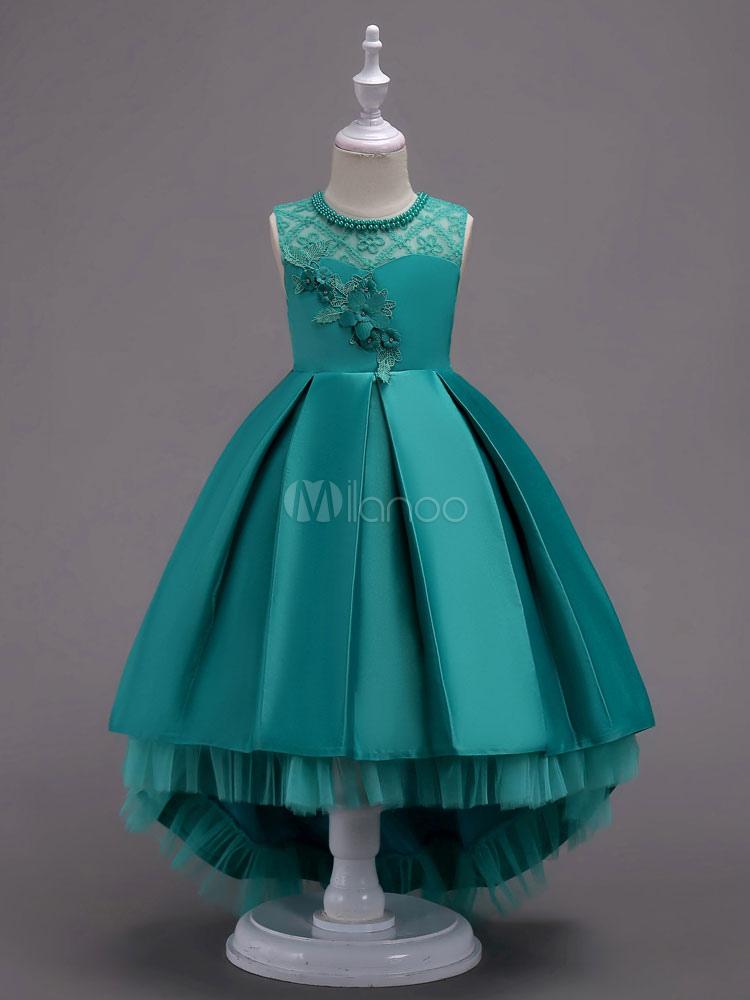 Flower Girl Dresses Ball Gowns Kids Pageant Dress Mint Green Lace Satin Princess Party Dresses Little Girls (Wedding) photo