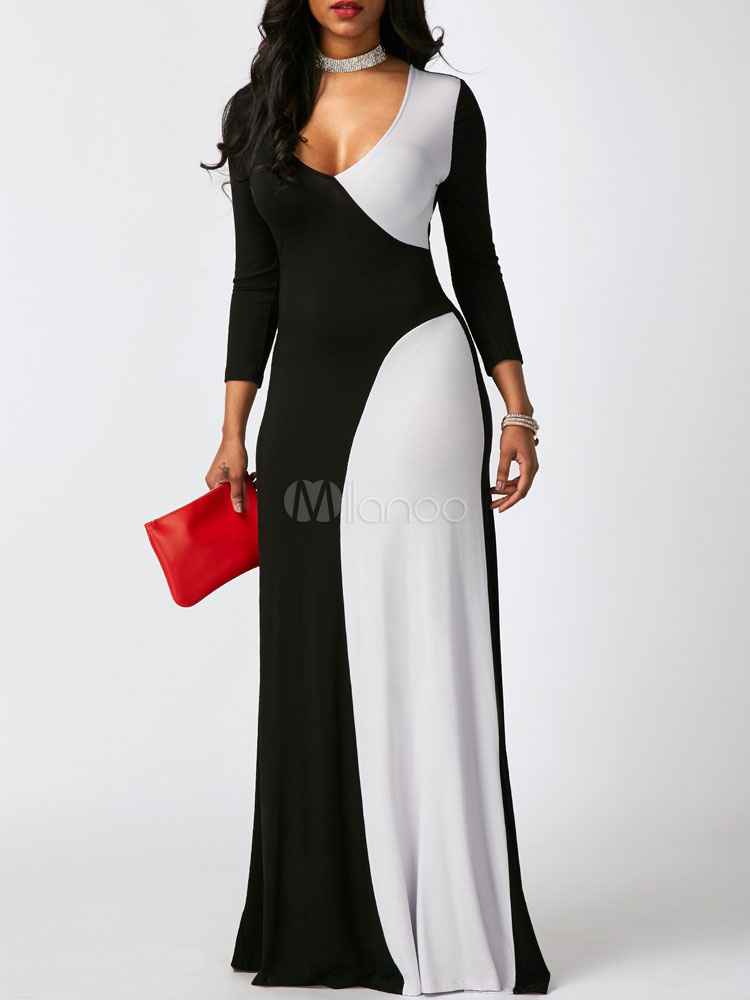 Women Maxi Dress Two Tone Long Sleeve V Neck Milk Silk Long Dress (Women\\'s Clothing Maxi Dresses) photo