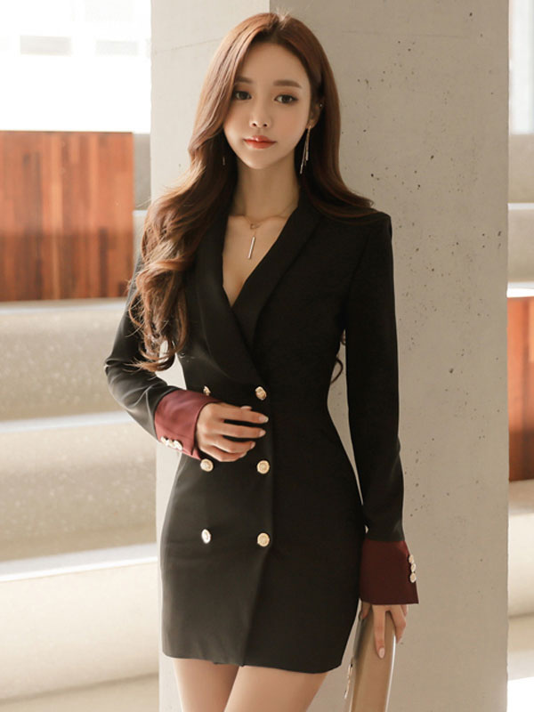 Blazer Work Dress Button Women