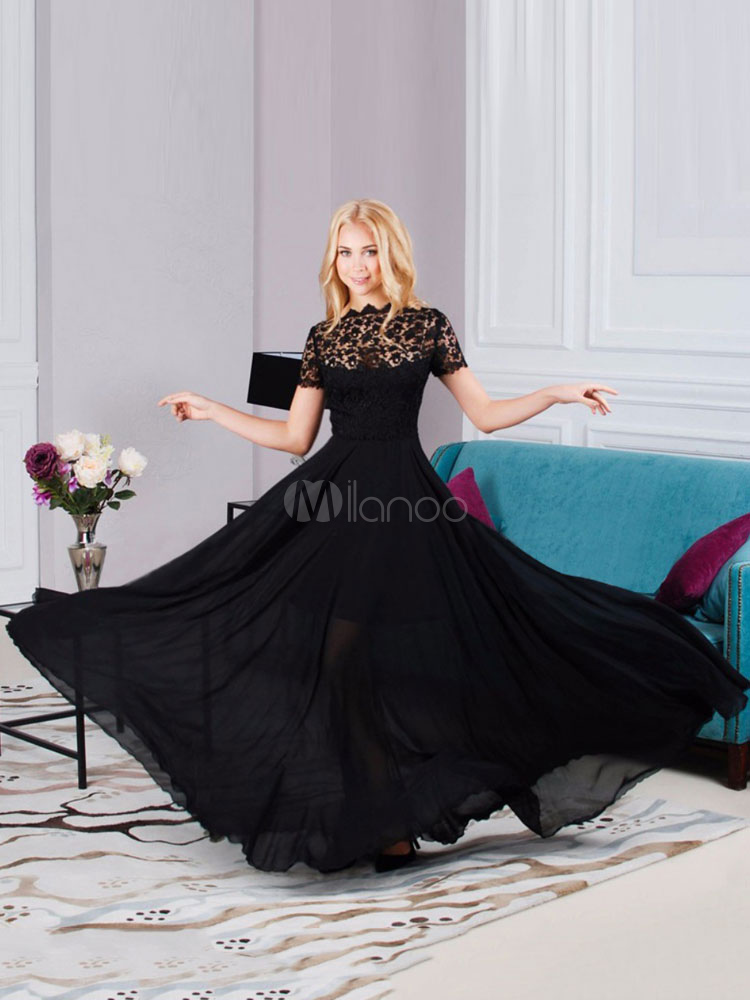 Black Maxi Dress Lace Short Sleeve Bateau Long Dress Semi Sheer Summer Party Dress (Women\\'s Clothing Maxi Dresses) photo