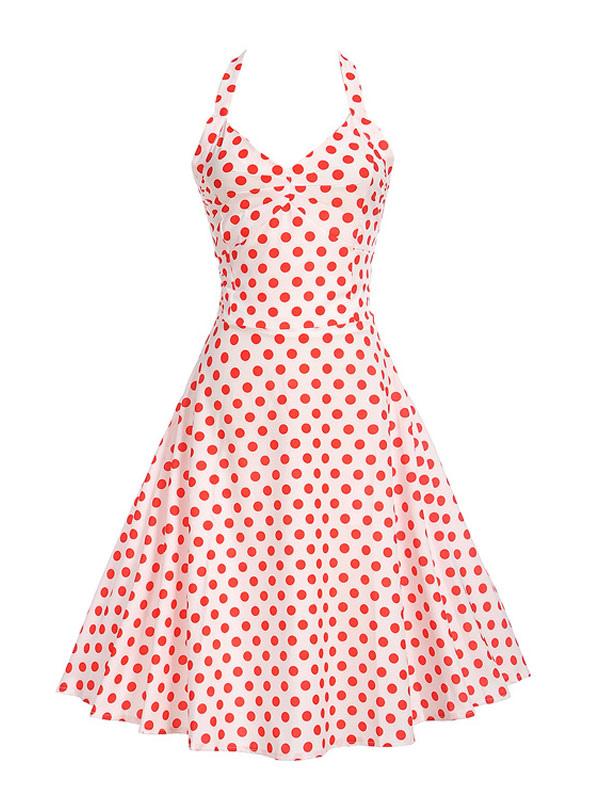 Summer Midi Dress Pink Polka Dot Vintage Dress Halter Lace Up Sweetheart Swing Dress (Women\\'s Clothing Vintage Dresses) photo