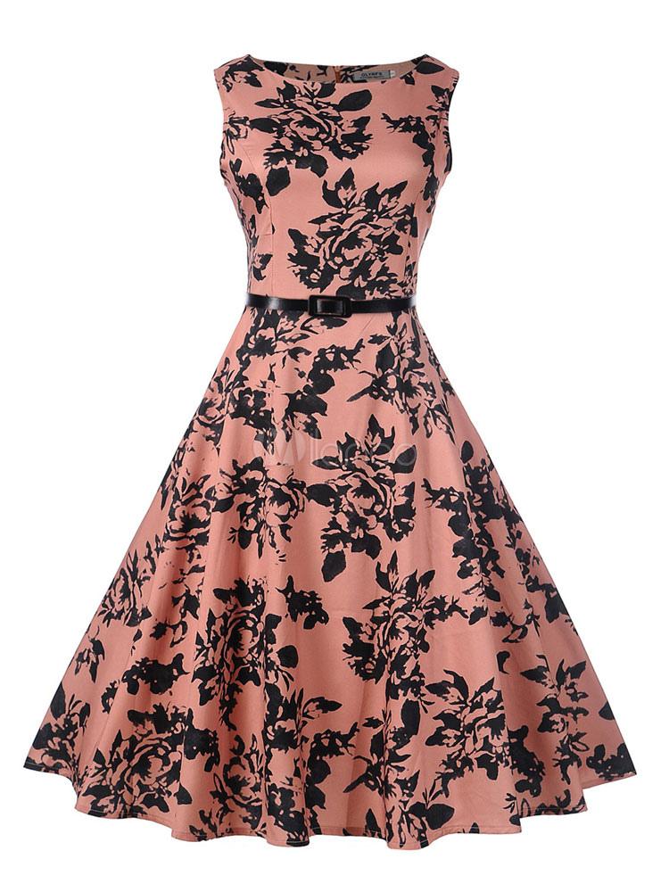 Pink Midi Dress 1950s Floral Vintage Dress Sash Sleeveless Swing Dress (Women\\'s Clothing Vintage Dresses) photo