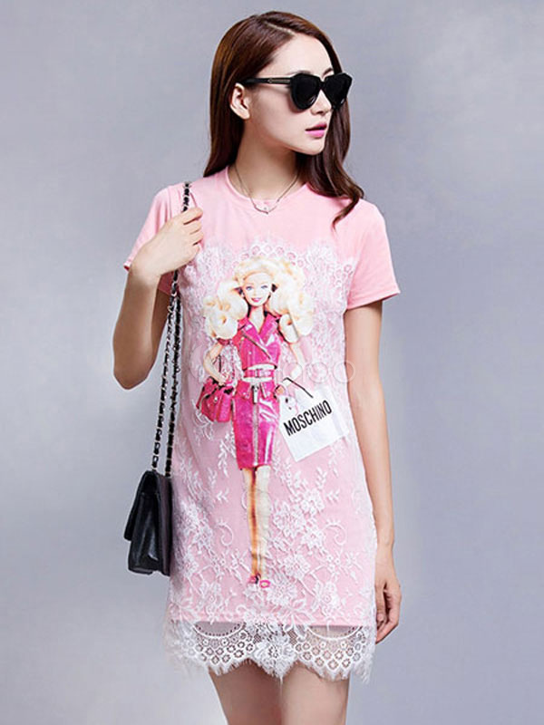 Pink T Shirt Dress Lace Short Sleeve Cartoon Characters Summer Dress (Women\\'s Clothing T-Shirt Dresses) photo