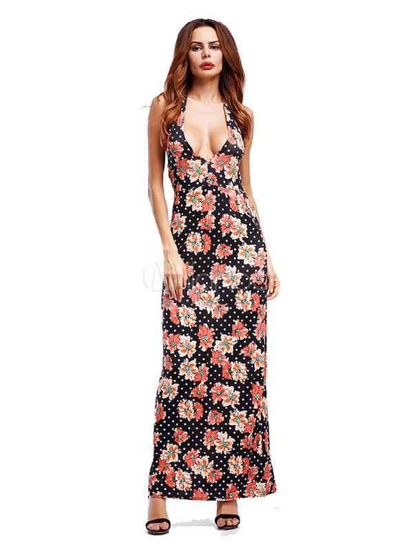 Black Maxi Dress Sleeveless Halter Printed Polka Dot Backless Milk Silk Long Dress (Women\\'s Clothing Maxi Dresses) photo