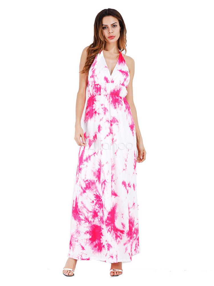 Summer Maxi Dress Halter V Neck Sleeveless Printed Backless Milk Silk Rose Long Dress (Women\\'s Clothing Maxi Dresses) photo
