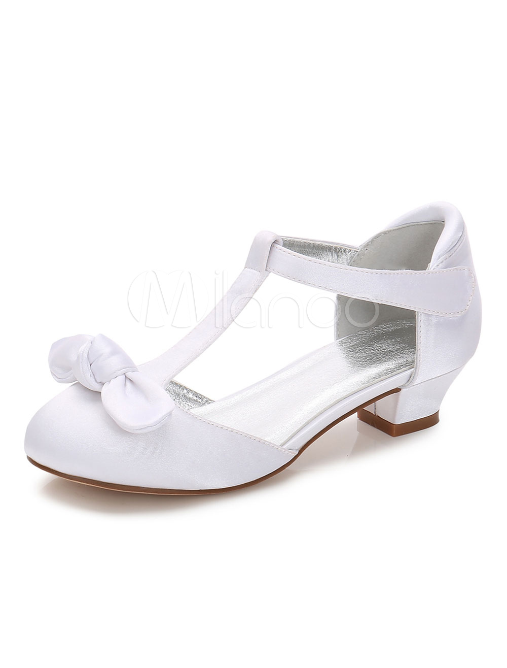 White Flower Girl Shoes Satin Round Toe Bow T Type Party Shoes Girl