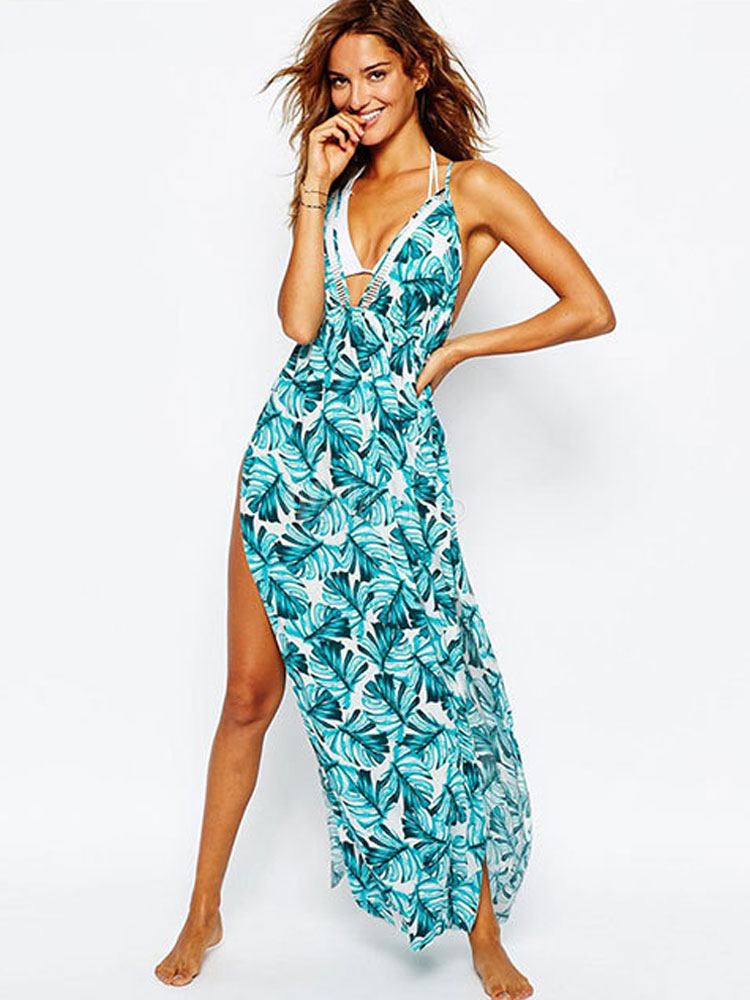 Long Summer Dress Sleeveless Leaf Print Backless Halter Blue Green Maxi Dress (Women\\'s Clothing Maxi Dresses) photo