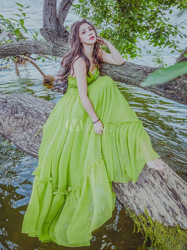 Long Summer Dress Halter Ruffles Sleeveless Green Chiffon Maxi Dress (Women\\'s Clothing Maxi Dresses) photo
