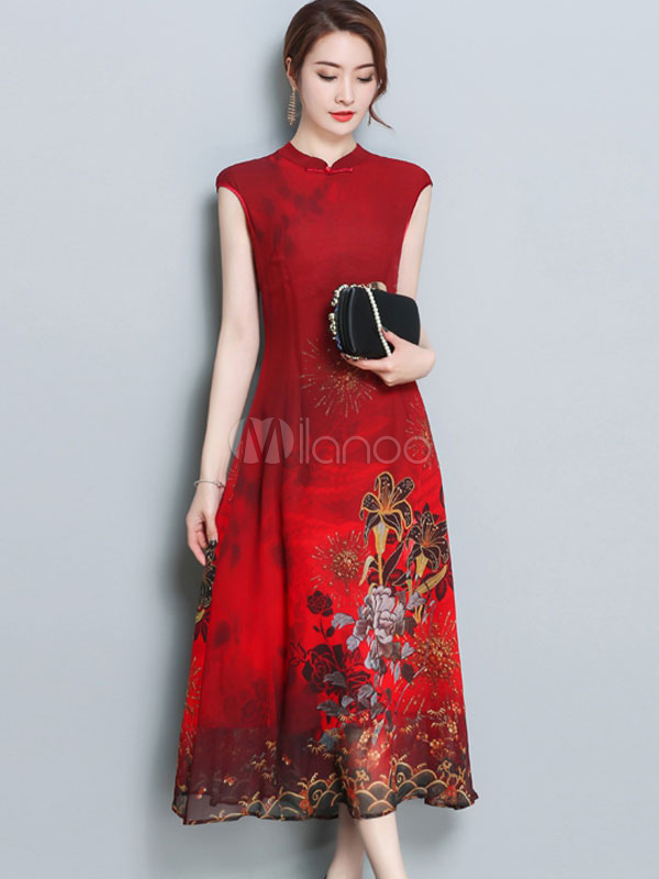 Red Long Dress Sleeveless Floral Print Stand Collar Silk Like Chinese Style Shift Dress (Women\\'s Clothing Shift Dresses) photo