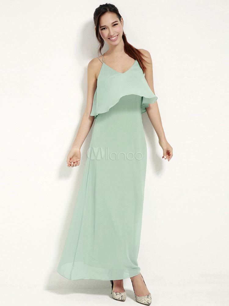 Mint Green Straps Backless Chiffon Maxi Dress (Women\\'s Clothing Maxi Dresses) photo