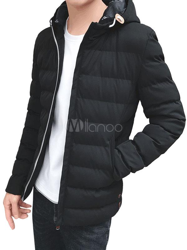 Black Down Coat Hooded Long Sleeve Slim Fit Parkas Coat For Men thumbnail