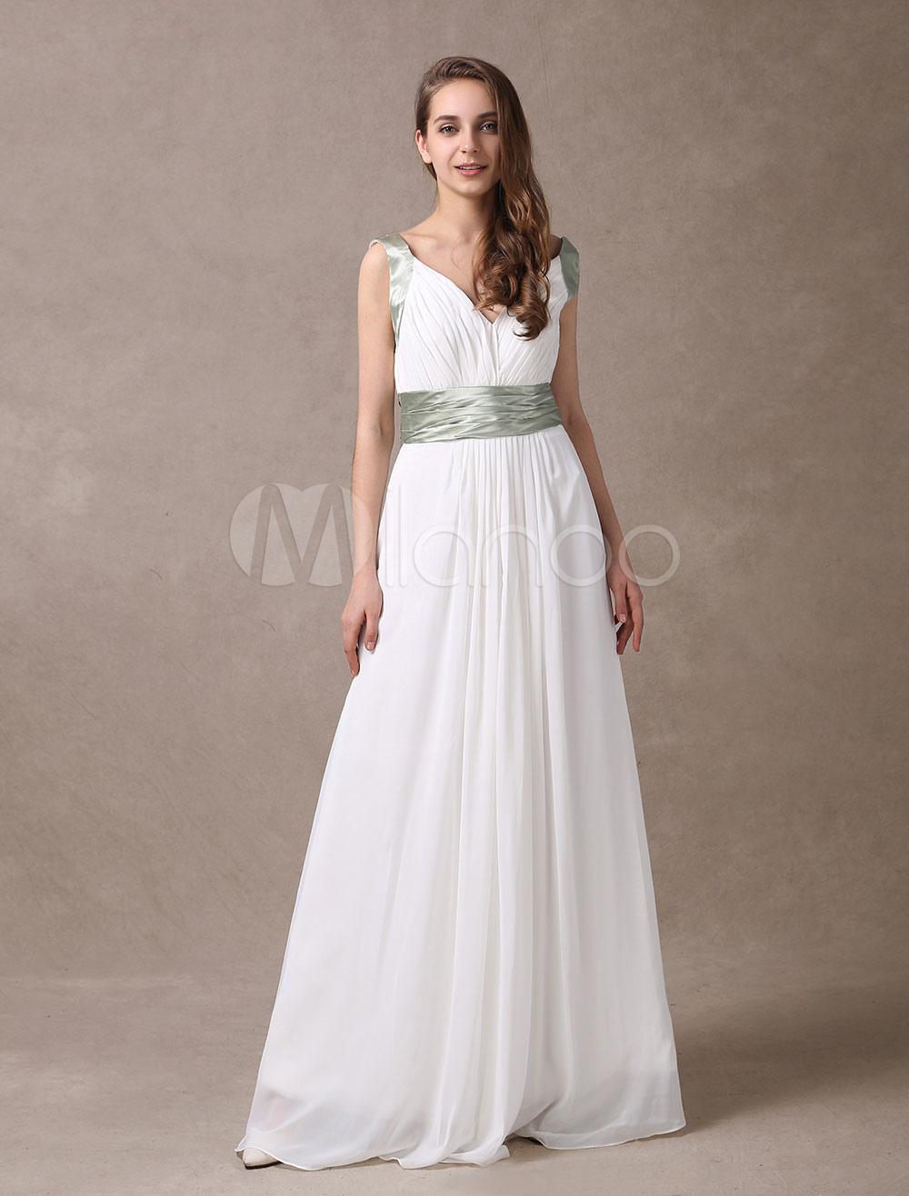 Attractive Ivory Chiffon Deep V-neck Maternity Bridesmaid Dress