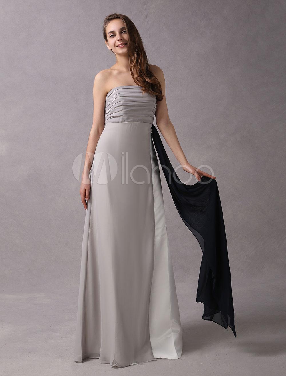 A-line Silver Chiffon Maternity Bridesmaid Dress with Empire Waist