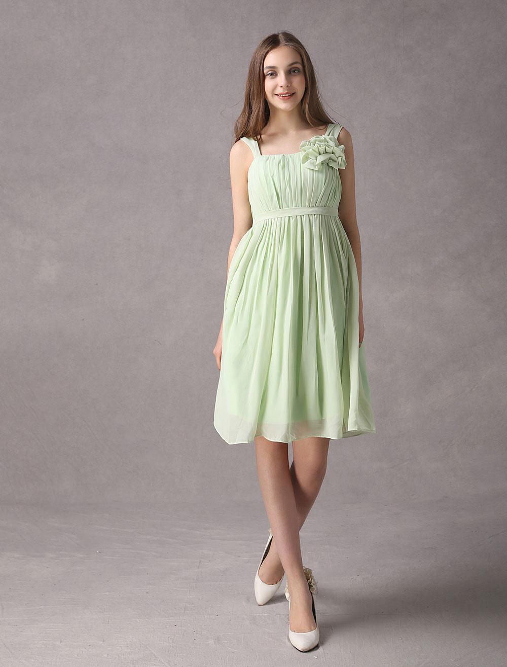 Sage Green Bridesmaid Dress Square Neckline A Line Chiffon Short Wedding Party Dress (Bridesmaid Dresses) photo