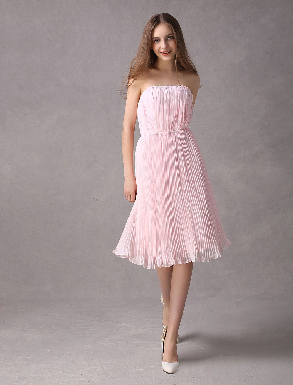 Pink Strapless Knee Length Draped Chiffon Bridesmaid Dress (Wedding Bridesmaid Dresses) photo