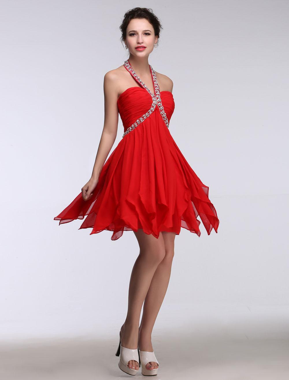 Red Homecoming Dresses Halter Backless Short Prom Dresses Beading Chiffon Mini Cocktail Dress (Wedding) photo
