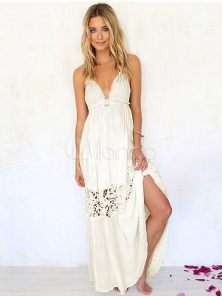 White Summer Dress Split Women's Backless Maxi Dress (Women\\'s Clothing Summer Dresses) photo