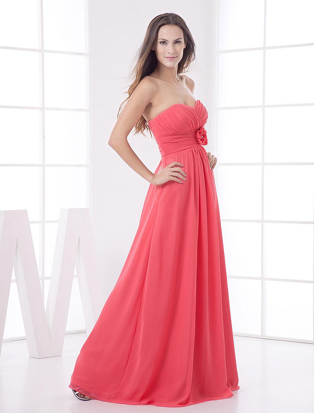 Strapless Bridesmaid Dress Coral Floor Length Flower Chiffon Maxi Prom Dress