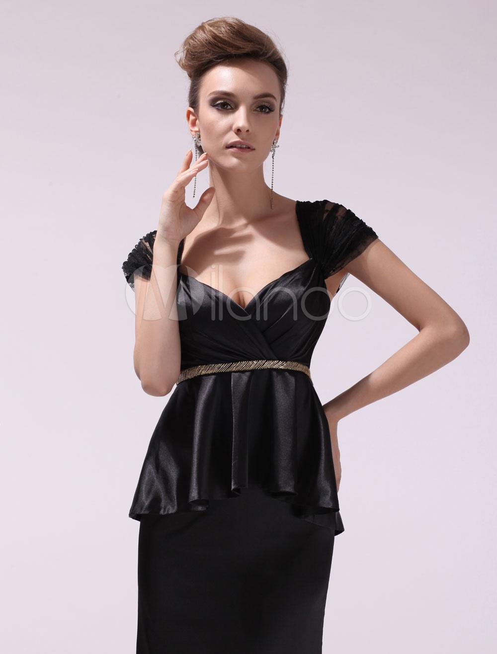 Black Pleated Sweetheart Short Sleeves Mermaid Evening Dress For Women Milanoo (Wedding Evening Dresses) photo