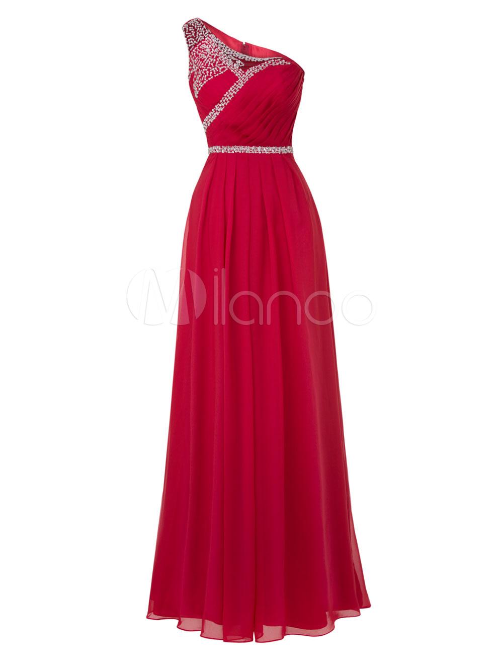 Long Prom Dresses 2018 Pastel Blue One Shoulder Bridesmaid Dress Chiffon Beading Floor Length Party Dresses (Wedding) photo