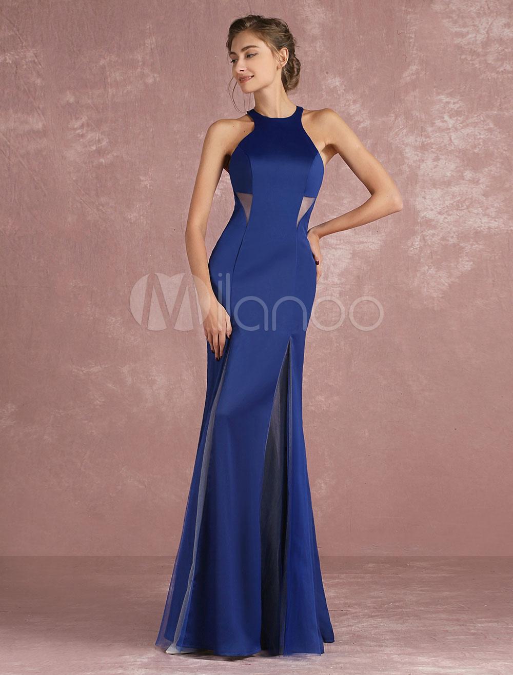 Halter Evening Dress Royal Blue Mermaid Formal Dress Satin High Split Floor Length Occasion Dress (Wedding Evening Dresses) photo