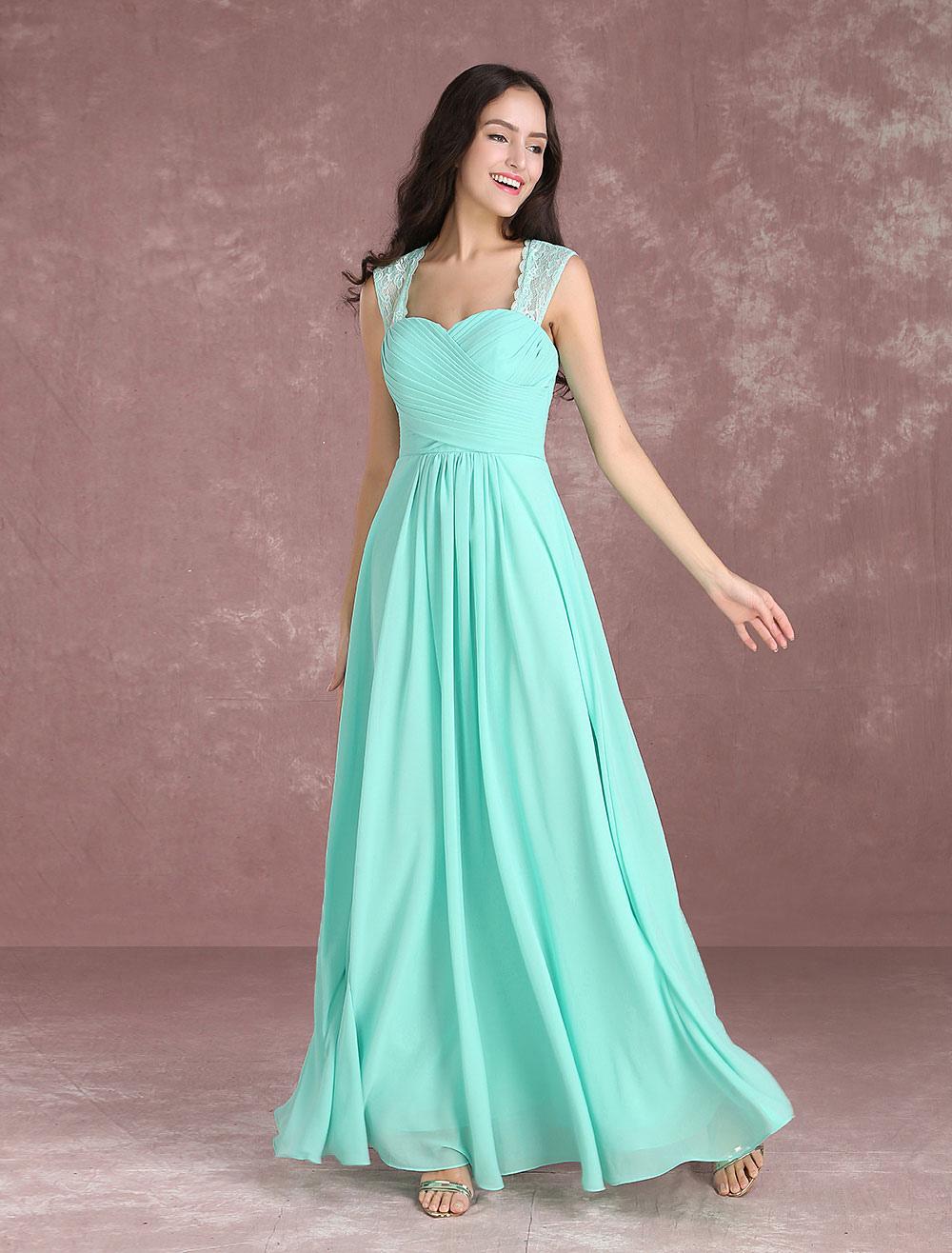 Long Bridesmaid Dresses Chiffon Mint Green Prom Dresses 2018 Sweetheart Wide Straps Keyhole Floor Length Party Dress (Wedding) photo