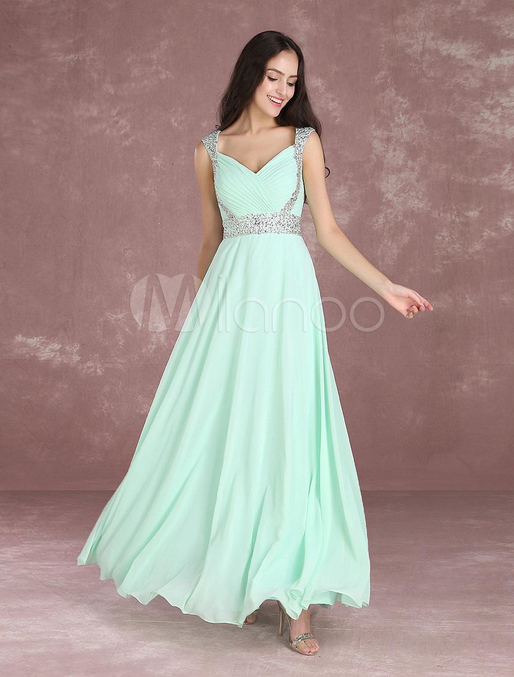 Chiffon Prom Dress Long 2018 Pastel Green Rhinestones Beaded Occasion Dress Sleeveless Pleated Floor Length Party Dress (Wedding Prom Dresses) photo