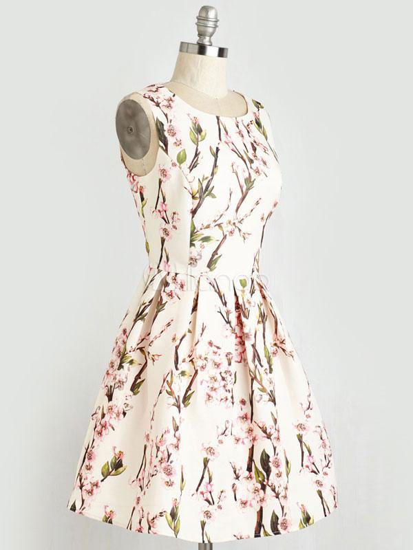 Vintage White Dress Floral Printed Women's Keyhole Sleeveless Short Summer Dress (Women\\'s Clothing Skater Dresses) photo
