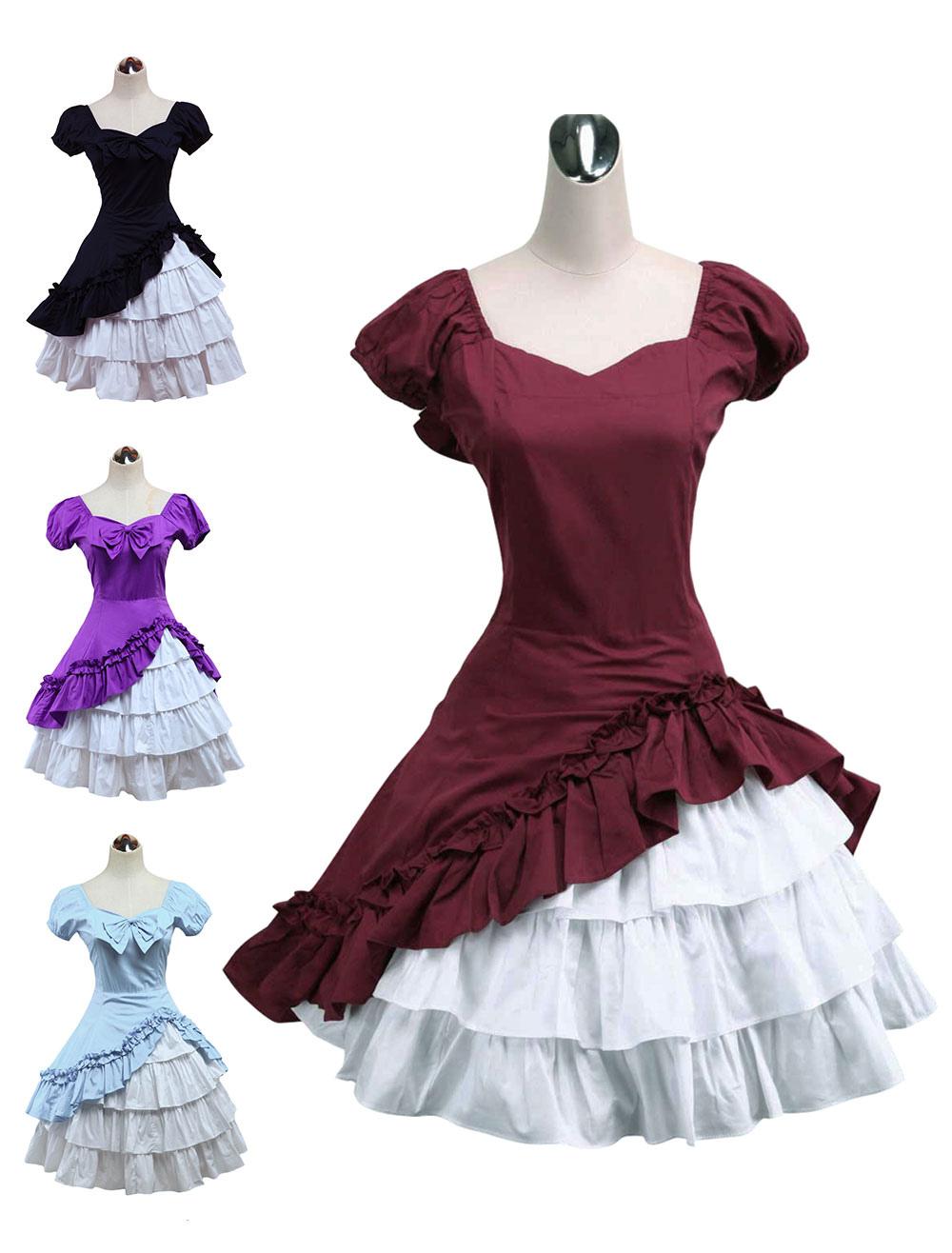 Wine White Lolita OP Dress Short Sleeves withe Ruffles