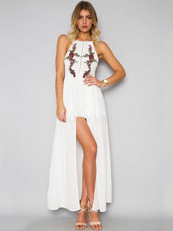 White Maxi Dress Boho Chiffon Embroidered Halter Women's Summer Beach Long Dress (Women\\'s Clothing Maxi Dresses) photo