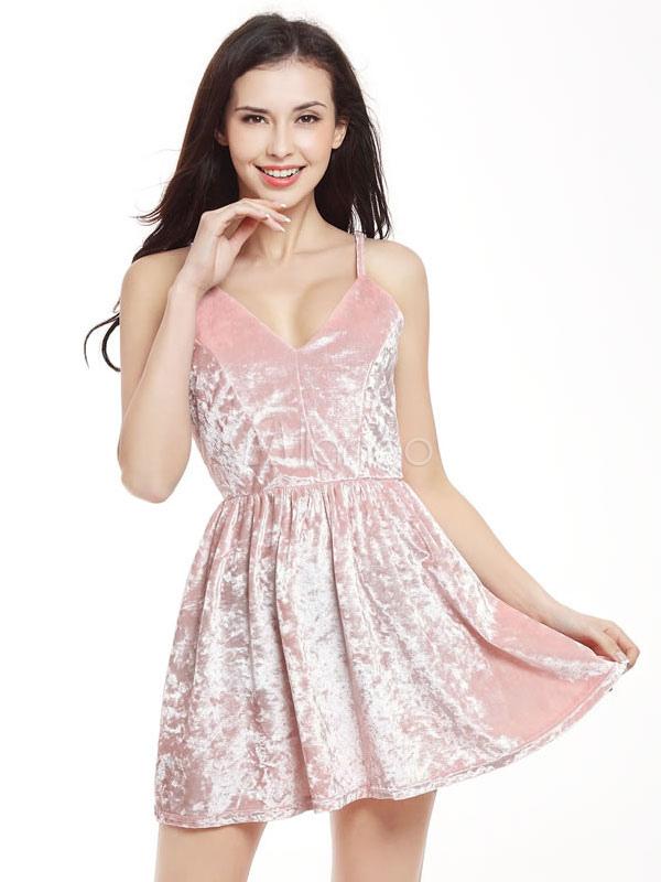 Pink Skater Dress Velvet Strappy Sleeveless Cross Back Pleated Short Dress (Women\\'s Clothing Skater Dresses) photo