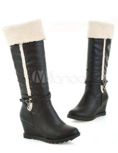 black pu antiskid rubber sole wedge boots milanoo