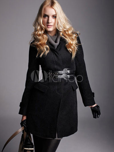 Slim Black Terylene Viscose Women's Long Coat