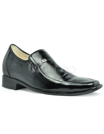 Formal Black Cow Leather PVC Sole Men's Elevator Shoes thumbnail