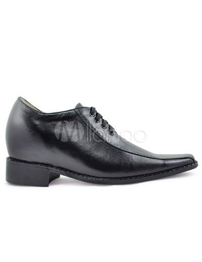 Elevator Shoes   on Black Front Tie Rubber Cowhide Men S Elevator Shoes   Milanoo Com