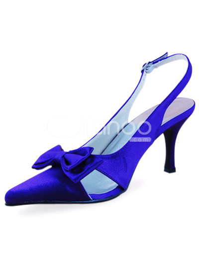 Unique Wedding Shoes on Unique Blue Satin Flower Decoration Sling Back Wedding Shoes