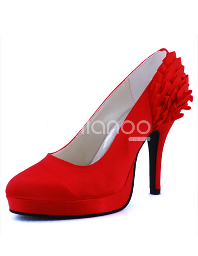 Bridal Shoes Platform on Red Floral Satin Round Toe Platform Wedding Shoes   Milanoo Com