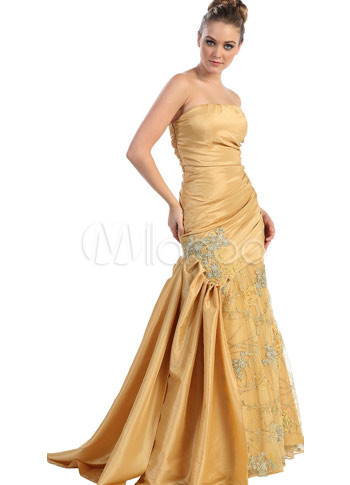 Golden Taffeta Lace Embroider Mermaid Trumpet Strapless Prom Dress