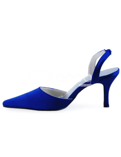 Gorgeous Blue Satin Pointed Toe Sling Back Wedding Shoes