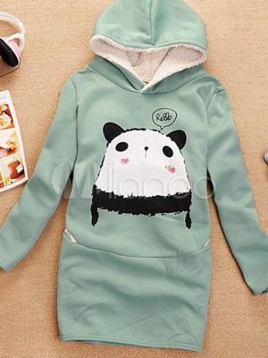 Sweet Panda Pea Green Combed Cotton Fleece Women's Hoodie