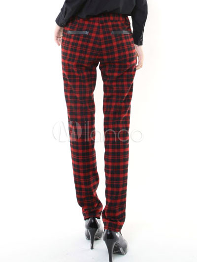 red plaid womens pants - Pi Pants