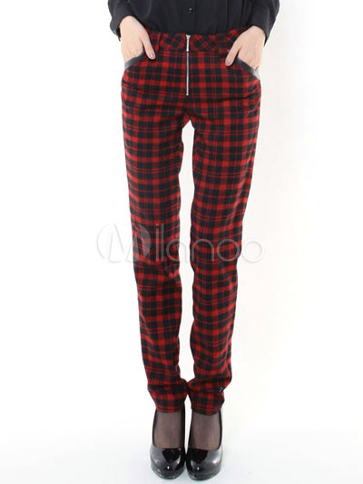 Red Plaid Womens Pants