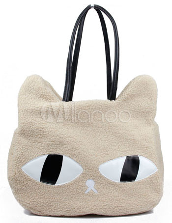 Cute Big Eyes Cat Faux-Fur Womens Tote