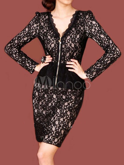 Gray V-Neck Front Zip Lace Womens Party Dress