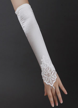 Ivory Wedding Bridal Mitten Lace Cut Out Chic Elbow Length Mitten