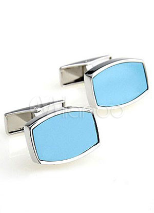 Beautiful Blue Turquoise Electro-Plated Steel Brass Cuff Links