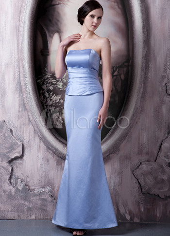 Lavender Satin Strapless Floor Length Bridesmaid Dress