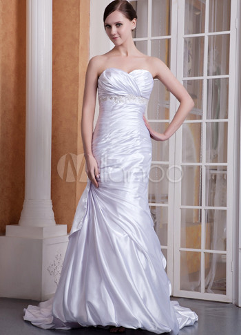 Slim White Elastic Satin Sweet Heart Floor Length Prom Dress