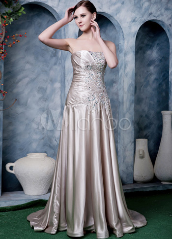 Champagne Elastic Satin Strapless Beading Prom Dress