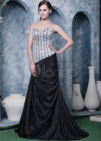 Gorgeous Silver Black Satin Beading Sweet Heart Prom Dress
